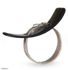 Silver and water buffalo horn ring