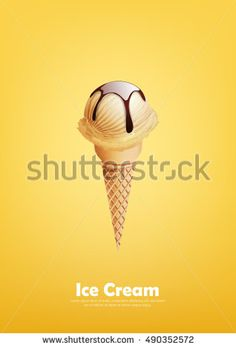 Vanilla Ice cream in the cone, Pour chocolate syrup, Vector