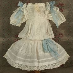 Beautiful Antique Original French Bebe Dress for JUMEAU other French Bebe circa 1890s