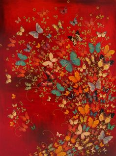 """Lily Greenwood 'Butterflies on Red', Acrylic on canvas, 40"""" x 30"""""""