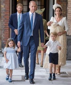 Prince Louis christened at Chapel Royal at St James's Palace. The Cambridge Family: Princess Charlott, Prince William, Prince George and Prince Louis in his mother Duchess Kate's arms.