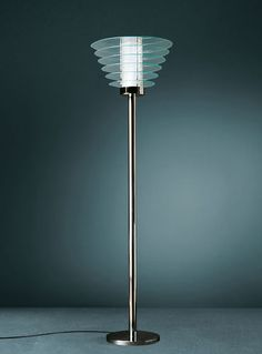 Gio Ponti; #T0024 Glass and Chromed brass Floor Lamp for Fontana Arte, c1931.