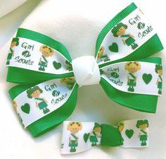 GIRL SCOUTS Small Girl Hair Bow Clip HANDMADE GROSGRAIN RIBBON LOT OF 2 #Handmade #GirlScouts