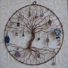 Árbol de la vida en alambre, para colgar los pendientes
