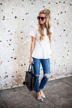 peplum top with silver pointed flats