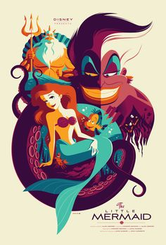 to Find Vintage Style Disney Posters The Little Mermaid Poster by Tom Whalen from MondoThe Little Mermaid Poster by Tom Whalen from Mondo Disney Pixar, Walt Disney, Disney Merch, Retro Disney, Disney And Dreamworks, Disney Love, Disney Magic, Disney Art, Disney Travel