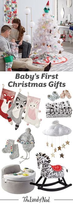 Create a memorable first Christmas for baby with The Land of Nod's lineup of gifts and toys. Baby may not be old enough to write a wish list just yet, but there are tons of presents that'll create smiles all around. From rocking horses and play mats to toys and ornaments, our presents are safe and fun.