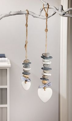 "Deco-Hanger ""Steinherz"", set of 2 – # # DekoHänger … - Home Page Driftwood Crafts, Seashell Crafts, Beach Crafts, Stone Crafts, Rock Crafts, Diy And Crafts, Pebble Art, Stone Art, Painted Rocks"