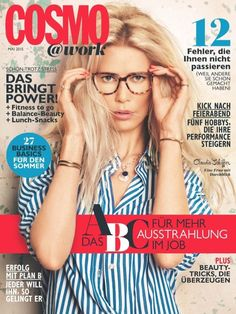 Claudia Schiffer rocks glasses on the cover of Cosmopolitan Germany's Cosmo @ work supplement
