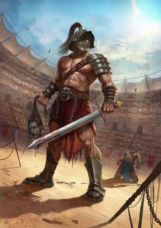 ArtStation - Are You Not Entertained? Gladiator Tattoo, Gladiator Arena, Greek Warrior, Fantasy Warrior, Roman Gladiators, Spartan Tattoo, Character Art, Character Design, Roman Warriors