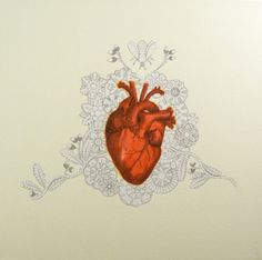 Red Anatomical Medical Heart With Flowers Oddity Art