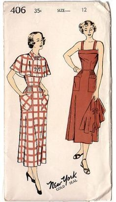 Vintage 1940s New York Sewing Pattern 406 Ladies Back Closing Dress and Cape Bust 30