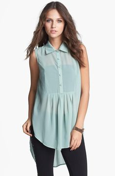 Easy, breezy style with a flowy sheer tunic.