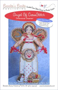 Angel of Cross Stitch Ornament Chart Pack   $13.00 - Includes Shipping  Includes: Antique Brown perforated paper, Mill Hill seed beads, tapestry & beading needles and chart with instructions.