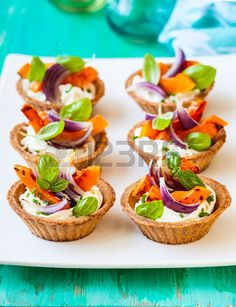 mini tarts with pumpkin and soft cheese for holiday Stock Photo