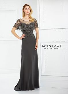 Montage By Mon Cheri 217947 - Chiffon slim A-line gown features an attached hand-beaded scalloped illusion capelet creating short sleeves, illusion bateau neckline over beaded sweetheart bodice, beaded illusion back, sweep train. Bride Gowns, Bridal Dresses, Bridesmaid Dresses, Prom Dresses, Formal Dresses, Formal Wear, Mother Of Groom Dresses, Mothers Dresses, Mother Of The Bride