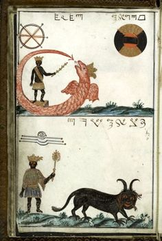 "A sorcery manual from 18th century Germany called the Clavis Inferni [The Key of Hell]. This image depicts ""Uricus, a red-crowned and winged serpent, as King of the East"" and ""Paymon, a black cat-like animal with horns, long whiskers and tail, as King of the West."""