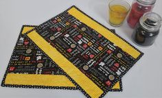 Disney Mickey Mouse Black Yellow and Red Quilted Placemats for Kitchen and Dining Decor, Disney Shower Gift Idea or Birthday and Christmas Yellow Stripes, Black N Yellow, Polka Dot Print, Stripe Print, Halloween Table Runners, Place Mats Quilted, Disney Shows, Dining Decor