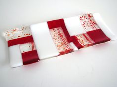 Red and White Cracker Tray in Fused Glass Platter by GetGlassy, $28.00
