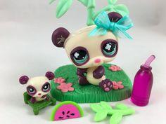 Littlest Pet Shop Cream & Purple Panda #822 w/Matching Teensie & Accessories #Hasbro