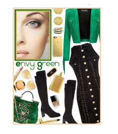 """""""Envy Green"""" by cupcakecouturegirls ❤ liked on Polyvore featuring Stuart Weitzman, SPINELLI KILCOLLIN, Balmain, Theo Fennell, Dolce&Gabbana, Yves Saint Laurent, Tom Ford, Butter London, Casetify and Michael Kors"""