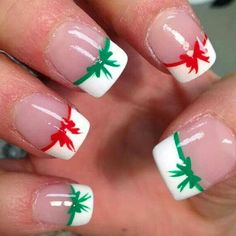 Red And Green Christmas Bow French Tip Nails