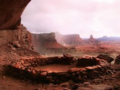 Ancient Pueblo people who once lived in what is now Utah's Canyonlands National Park built kivas, or round rooms, many of which remain today. False Kiva, seen here, is in a remote section of the park. [Photo by George Frandsen, submitted to My Shot]