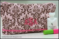 Large zipper bag with hot pink ric~rac