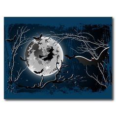 SOLD Postcard Happy Halloween! #Zazzle #postcard #halloween #holiday #bat #moon #witch http://www.zazzle.com/postcard_happy_halloween-239018489191424562