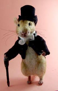 Needle Felted Art by Robin Joy Andreae: Meet Woodrow ~ A Very Dapper Rat