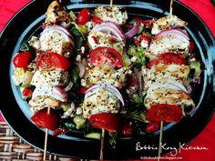Bobbi's Kozy Kitchen: Chicken Kabobs with Greek Salad
