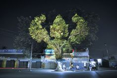 Cambodian Trees is a digital projection work by French artist Clement Briend who traveled to Cambodia to photograph these sculptural representations of deities and spirits from Cambodian culture overlaid on trees in several urban areas.