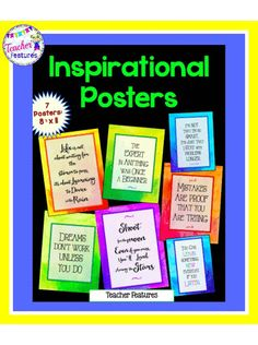 "Posters: Inspirational Posters for classroom motivation and inspiration  - 7 posters with adorable animal photos.  Image sized to fit a 8.5 x 11"" poster. © Teacher Features"