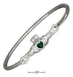 STERLING SILVER GREEN GLASS IRISH CLADDAGH BANGLE BRACELET