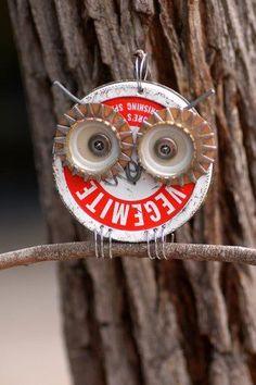 Owl crafts, Jar lids and Bottle caps