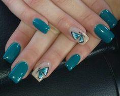 Farfalla verde nail