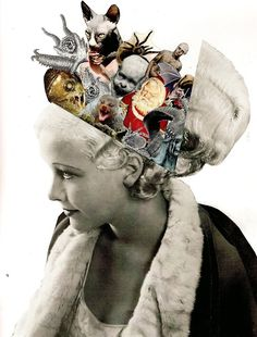 'Hidden Thoughts' collage by Lynn Skordal Collage Foto, Collage Kunst, Art Du Collage, Mixed Media Collage, Dada Collage, Surreal Collage, Flower Collage, Collage Design, Inspiration Art