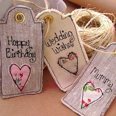 Personalised Vintage Inspired Tags Freehand Machine Embroidery, Free Motion Embroidery, Free Machine Embroidery, Fabric Gifts, Fabric Tags, Fabric Scraps, Scrap Fabric Projects, Sewing Projects, Vintage Tags