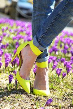 marlborough st (J Crew heels) Neon Sandals, Neon Heels, Yellow Heels, Shoes Heels, Pumps, J Crew Heels, Givenchy, Beautiful High Heels, Pretty Heels