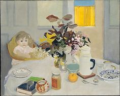 """""""Lizzie at the Table,"""" Fairfield Porter, 1958, oil on canvas, 36-1/2 x 45-1/2"""", The Metropolitan Museum of Art."""