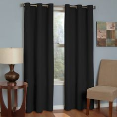 Block out unwanted noise and light with the Eclipse Thermaback Microfiber Grommet Blackout Window Panel . Eclipse ultra-fashionable blackout panels have. Blackout Panels, Blackout Windows, Blackout Curtains, Drapes Curtains, Bedroom Curtains, Curtains Walmart, Yellow Curtains, Cheap Curtains, Eclipse Curtains