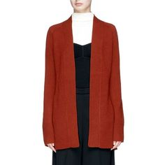 Theory 'Malinka C' cashmere long cardigan (€330) ❤ liked on Polyvore featuring tops, cardigans, red, red cashmere cardigan, cashmere top, long cashmere cardigan, theory cardigan and cashmere cardigan