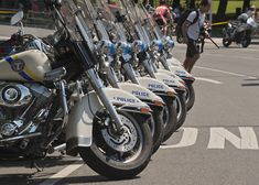 Close up of Philadelphia Highway Patrol police motorcycles.