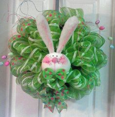 easter wreaths with deco mesh   Items similar to Large Deco Mesh Easter Bunny wreath on Etsy
