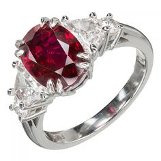 Peter Suchy Red Oval Ruby Diamond Platinum Engagement Ring, GIA Certified | From a unique collection of vintage engagement rings at https://www.1stdibs.com/jewelry/rings/engagement-rings/