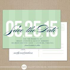 Bold Date Modern Wedding Save the Date Postcard - by ©MalloryHopeDesign