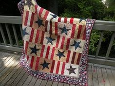 The border on this quilt is made with vintage political fabric - This quilt was fun, easy and fast!