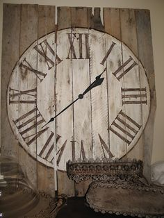 pallet clock - I've been wanting a large clock for my entryway but can't find one big enough that doesn't cost 1/2 my paycheck - now I can make my own!