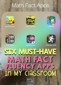 educational apps-this six math apps-Six must-have math fact fluency apps in the classroom Math Fact Fluency, Fluency Games, Vocabulary Games, Math Strategies, Math Tips, Math Intervention, Third Grade Math, Second Grade, Homeschool Math