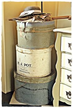 shabby chic hat boxes create a great display